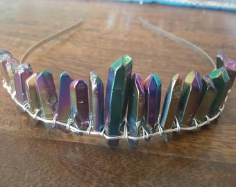 Titanium Aura quartz tiara, cosplay headpiece, silver bridal crown, boho bridal headpiece, moon goddess crown, raw crystal hair, pagan