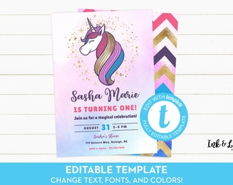Unicorn Birthday Invitation - Unicorn Birthday Party - Unicorn Invitation - Editable Invitation - Printable Unicorn Invitation - Templett