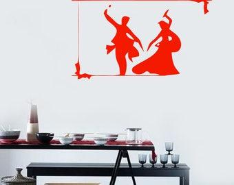 Wall Vinyl Decal Pose Oriental Dance Indian Couple Dancing Room Decor (2423dn)