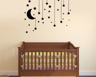 Stars Vinyl Wall Decal Crescent Above Bed Nursery Baby Room Dream Stickers Mural (#2719di)