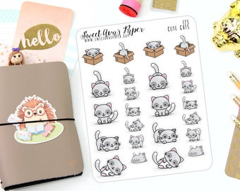 Cat Planner Stickers - Kitty Planner Stickers - Pet Planner Stickers - Kawaii Planner Stickers - Work Out Stickers - 173