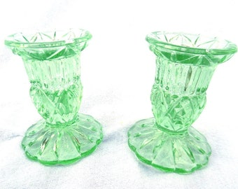 "Green Glass Candlesticks, Art Deco Pressed Glass Candle Holders, Immaculate, 3.25"" x 2.5"", England 1950's, LOW COST SHIPPING"