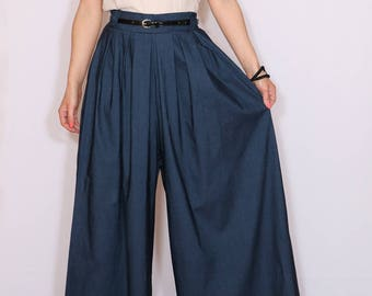 Denim pants Palazzo pants Cotton navy pants Wide leg pant skirt for women