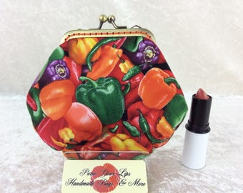 Chilli Peppers Amy frame coin purse wallet hand stitched handmade in England