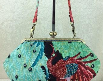 Peacock Kujaku handbag bag purse clutch fabric Alexander Henry handmade in England