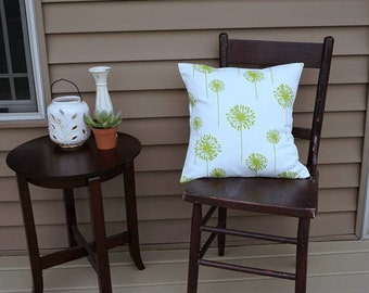 """Green Dandelion Pillow Cover, 18"""" square, Premier Print Geometric Print, Envelope Closure, Instant Room Makeover Look, Green Pillow Cover"""
