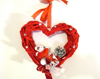 Valentine's Day Wall Hanging Decoration, Heart-Shaped, Rose and Teddy Bears