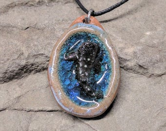 Whale Shark Pendant, Shark Pendant, Glass Shark, Glass Ceramic Jewelry, Blue Glass Pendant, Whale Shark Necklace, Handmade Shark Necklace