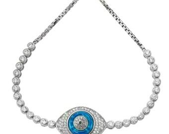 Valentine's Day, Evil Eye Bracelet, Tennis Bracelet, Adjustable Bracelet, Evil Eye Bracelet, Sterling Silver, Rose Gold, Gold