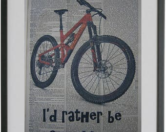 Mountain Bike Print No.505, mountain bike decal, sports bike art, mountain bike prints, boyfriend gift, mountain bike gift, dictionary art