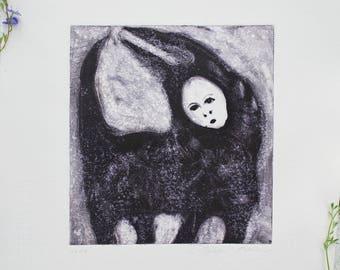 Fine art monotype print, werewolf fine art, original monotype, small square print, creepy human faced animal art, art gift, unframed
