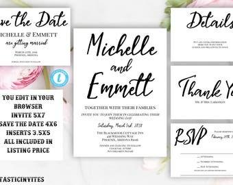 Wedding Invitation Template, Wedding Invitation Suite, Printable Wedding Invitation Template Suite, Instant Download,Invitation Template Set