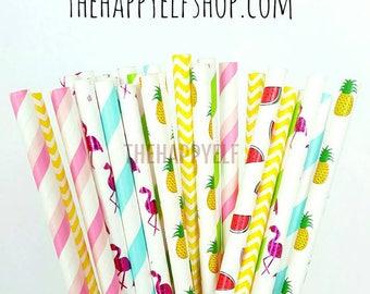 Flamingo party strawstropical straws. pineapple straws. flamingo decor. flamingo party supply. paper straw. watermelon straws. luau party