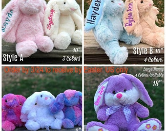 Easter etsy personalized easter bunnies plush easter bunny monogram bunny easter gift kids easter negle