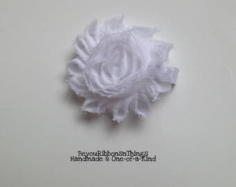 White | Big Shabby Flower 2.5"