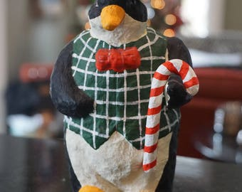 Dapper Christmas Penguin/ Christmas Decor/ Top Hat Penguin/ Christmas Statue
