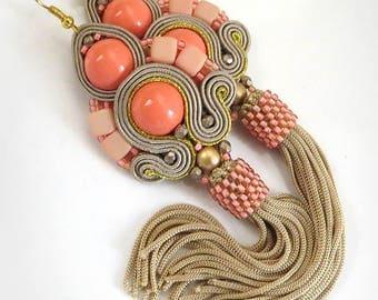 Valentine's gift, best friend gift, Boho dangle earrings coral orange tassel earrings Soutache earring coral Fringe earring