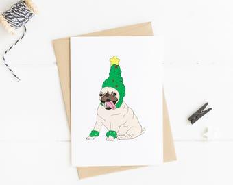 Funny Pug Christmas Card. Funny Christmas Card. Christmas Tree Card. Pug Card. Pug Gift Ideas. Christmas Gift Ideas. Pug Illustration.