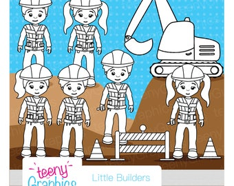 Little Builders Stamp Set, Small Commercial Use, Kids, Little, Builders, Role-play, Digital Stamp, Colouring in, INSTANT DOWNLOAD - Stamp07
