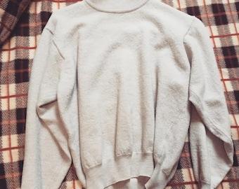 1970s 1980s mock neck turtleneck shirt top women's top cream Italian made sweater