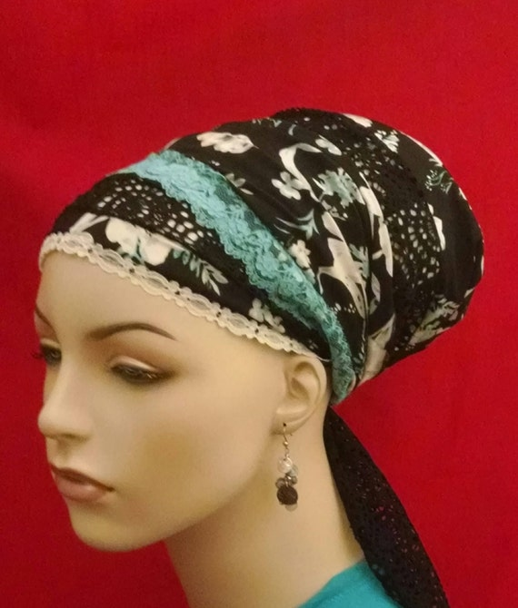 Updated lovely lacy floral sinar tichel, tichels, chemo scarves, head scarves, hair snoods,
