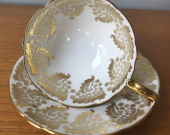 Royal Stafford Tea Cup and Saucer, White and Gold Teacup and Saucer, Wedding Gift Idea, Bone China,