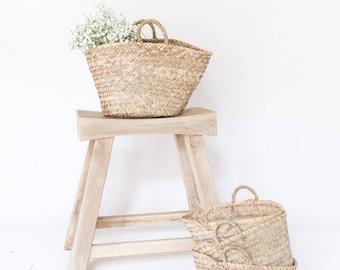 "Woven Natural Straw Bag, ""The Mae,"" Market Straw Tote, Decorative Basket, Storage, Market Bag, Beach Bag, Kids Storage"