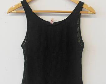 Vintage Black Lace Floral Tank Top Size M/L