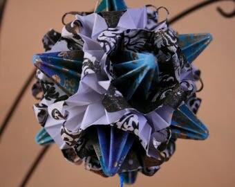 Origami Blue Teal Gold Black Floral Large Kusudama Paper Ball Hanging Ornament