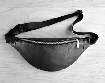 Genuine leather fanny pack, hip travel bag, belt bag, waist purse, real leather, black , casual zipper purse, echtleder , gift for traveler