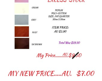 Poplin, Poly-cotton, Fat Quarters Available as Excess Stock in Perfect Condition! Five Pieces in One Package, Great Prices, DETASH