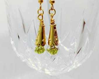 bright green and gold dangle drop earrings
