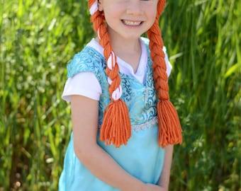 Princess Anna hat, crochet Anna hat, frozen hat, Anna yarn wig