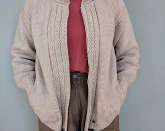 1980s Vintage Wool Fishermans Cardigan, Grandpa Chunky Cable Knit Cardigan Sweater, Heavy Warm Womens Medium Sweater, Eddie Bauer