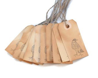 Mini Gift Tags, Bird, Favor Tags, Tea Stained, Grungy Tags, Party Favors, Organization Tags, Primitive Tags, Merchandise Tags, Hang Tags