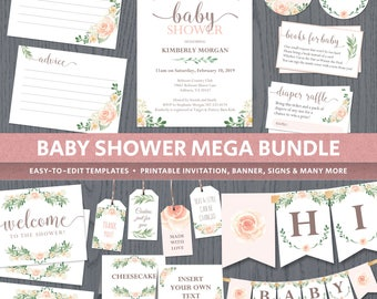 Floral baby shower decor, printable templates spring baby shower, invitations, advice cards, diaper raffle, books for baby insert, DIGITAL
