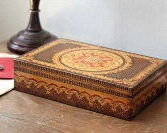 Large Wooden Box - Large Keepsake Box - Wood Hand Carved Box - Vintage Large Box - Wooden Box with Lid - Memory Box - Wooden Shaving Box