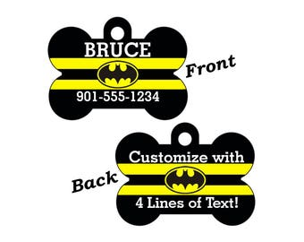 Batman Double Sided Pet Id Tag for Dogs and Cats Personalized w/ 4 Lines of Text