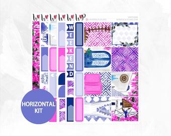 Santorini Horizontal Kit - Matte Glossy Erin Condren Horizontal Planner Stickers -