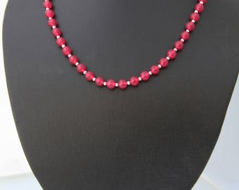Rose Jade and Silver Necklace