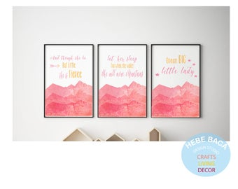 Nursery Wall Art, Pink Mountains, Girl Nursery- Wall decor