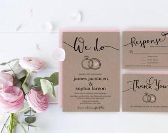 Rustic Wedding Invitation Printable, Custom Wedding Invite Set, Kraft Paper Invitations, Simple Wedding Suite, Custom Thank You Cards Print