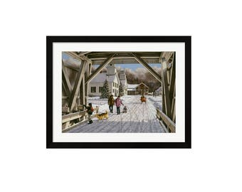 38x29 A Letter for Santa Art Print by Bill Breedon, Framed & Matted, Child Letter for Santa Mailbox, Covered Bridge Snow VT, Christmas Art