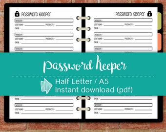 Password Tracker, Password Keeper, A5 Password Organizer, Planner inserts printable #half016