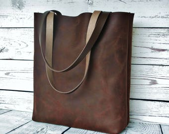 Brown leather tote, leather tote bag, chocolate leather shoulder bag, leather purse, rustic leather, vintage, tote bag