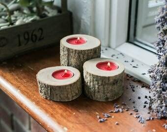 Log tea-light candle holders - Set of 3