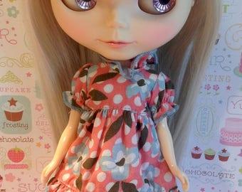 Flowers & Polka Dots Ruffle Dress * Blythe *