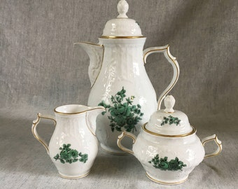 Vintage Rosenthal Classic Rose Collection Coffee Service, Green Roses Coffeepot, Sugar Bowl and Creamer
