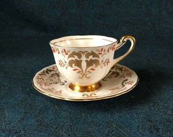 Vintage Royal Chelsea English Bone China Gold Scroll Tea Cup and Saucer