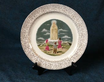 "Vintage ""Our Lady of Lourdes"" Gold Filigree Dinner Plate, Taylor Smith Taylor, Religious Decorative Plate"